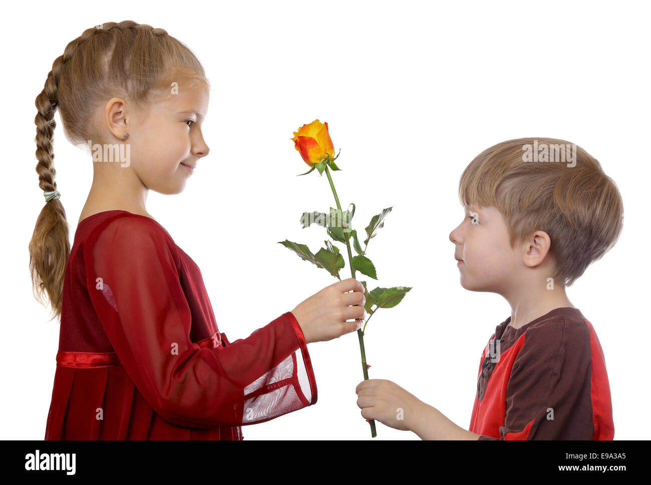 Younger brother big sister wishes - Stock Image