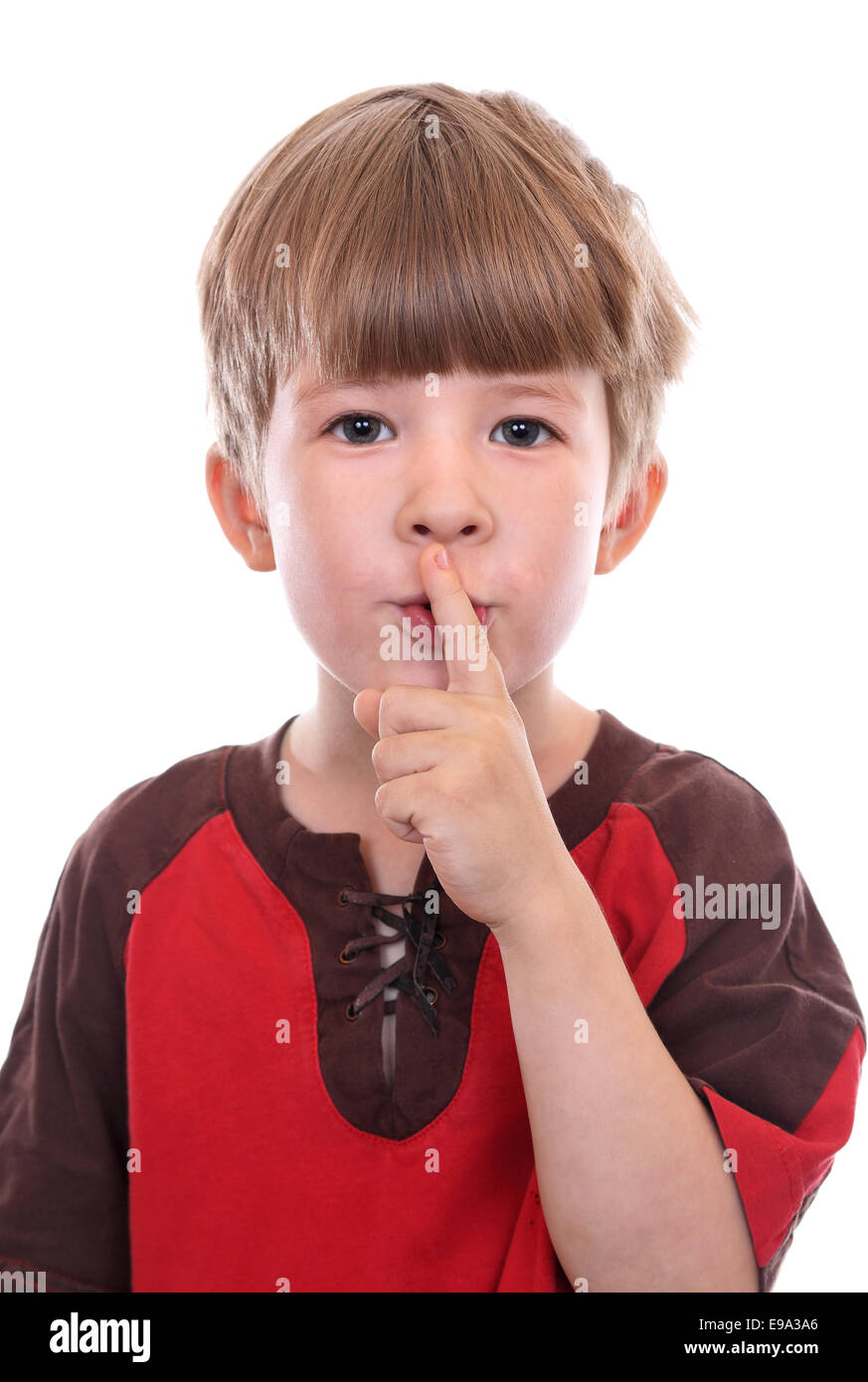 Gesture calling for silence or secrecy - Stock Image