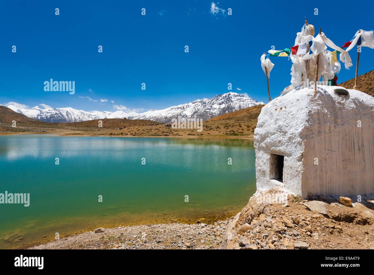Stupa Pristine Mountain Lake Buddhist Dhankar - Stock Image