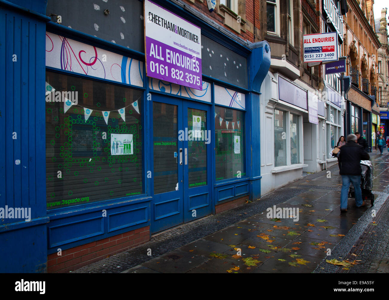 'All Enquires' Retail units to let in Bridge Street, Warrington, Cheshire.  Warrington Borough Council propose - Stock Image