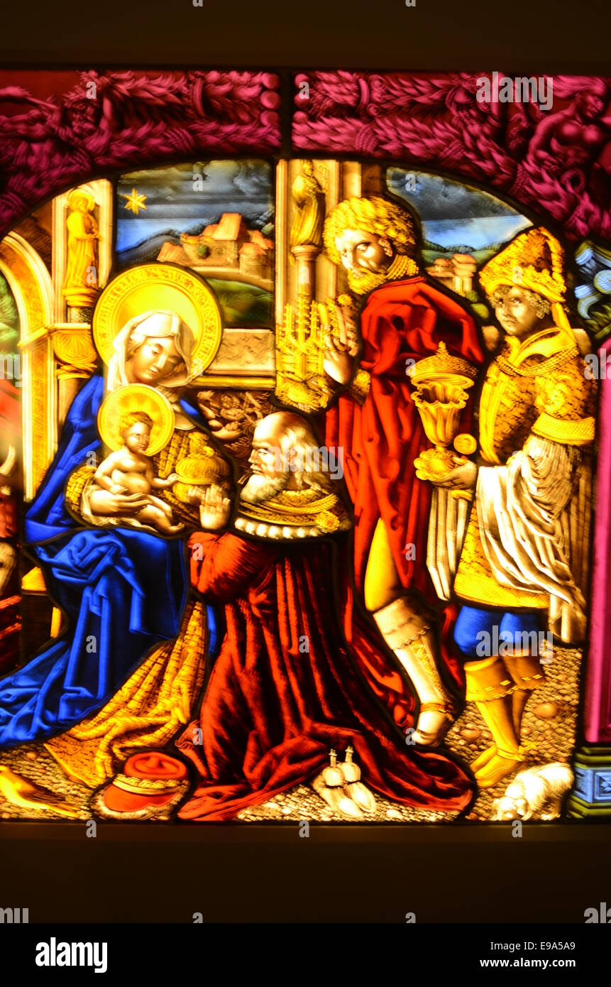 glass painting picture of a saint - Stock Image