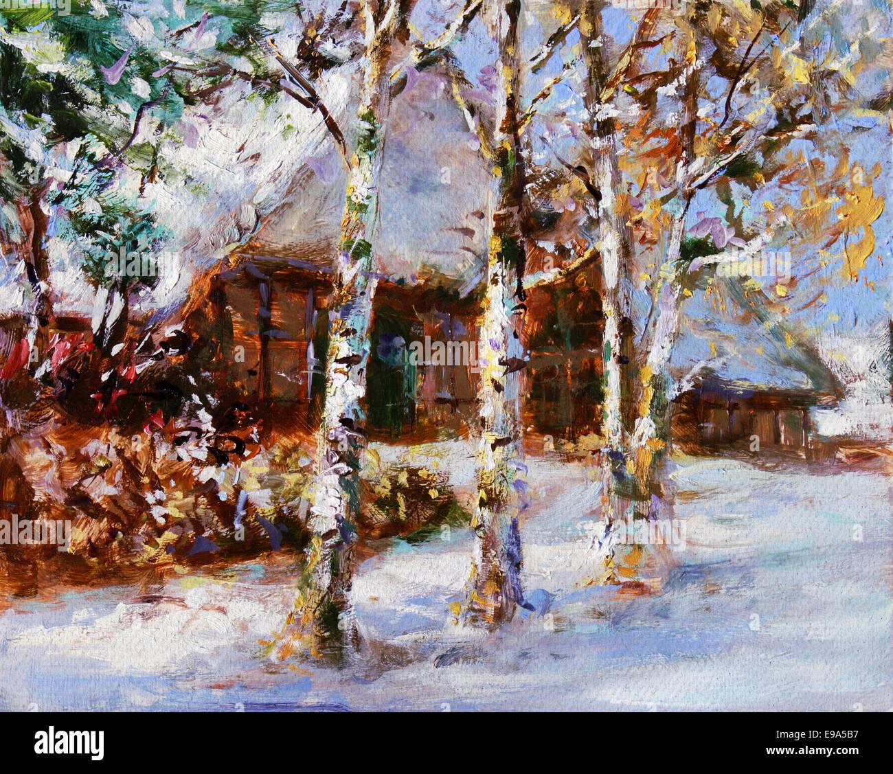 sunny winter landscape - painting - Stock Image