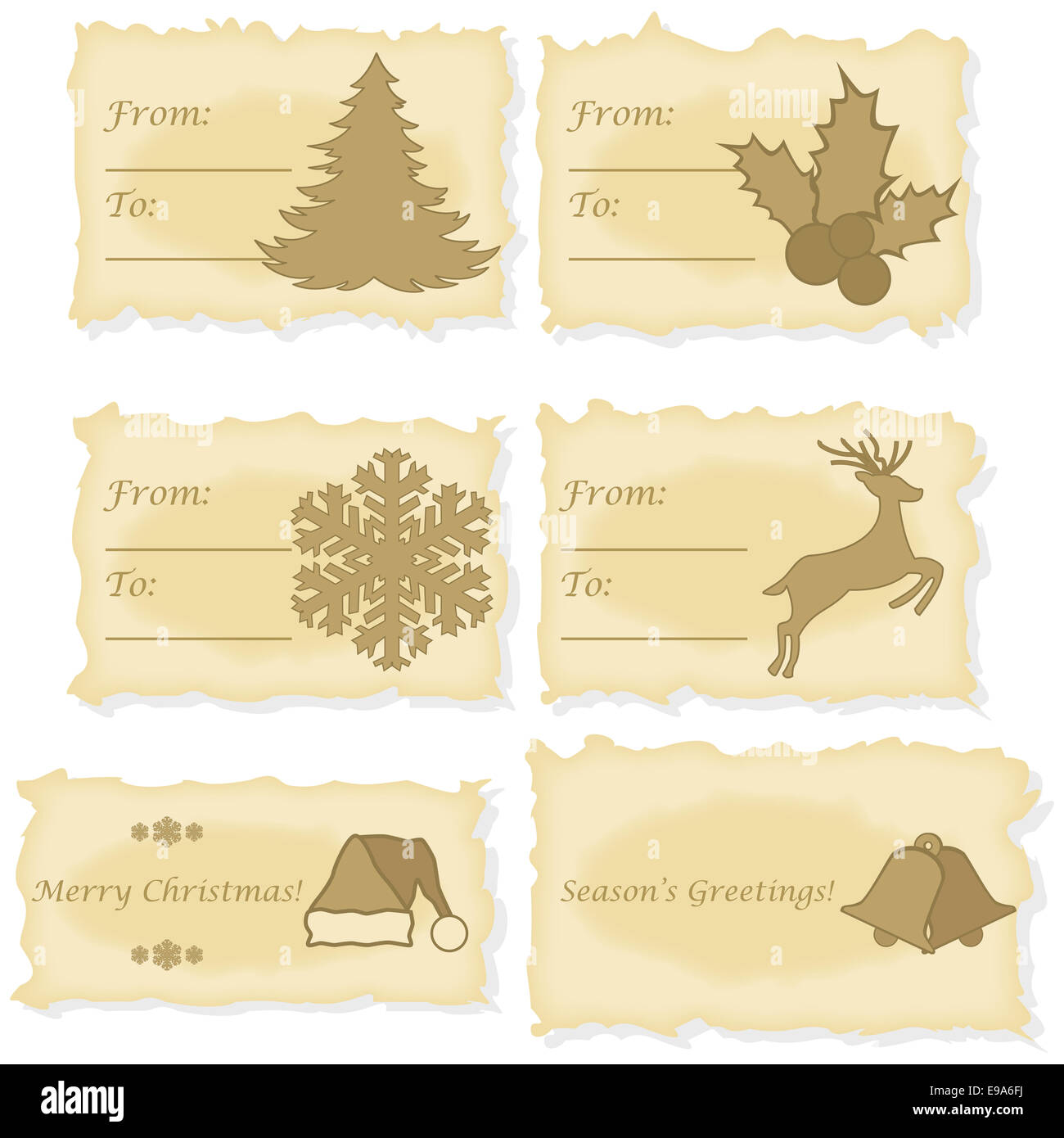 Christmas cards printed on old paper Stock Photo: 74598038 - Alamy