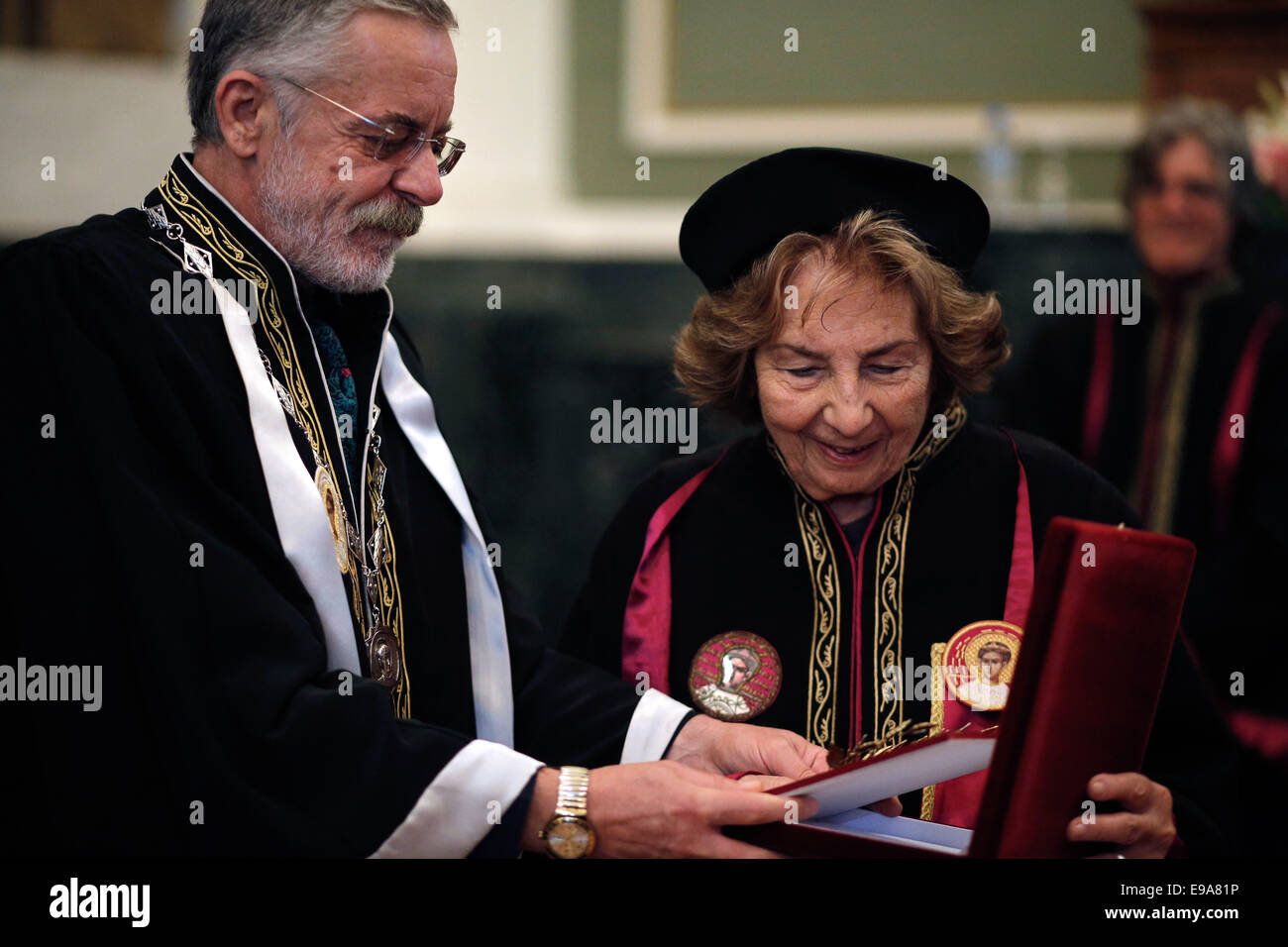 Thessaloniki, Greece. 23rd Oct, 2014. Award Ceremony Honorary Doctorate in the Department of Early Childhood Education - Stock Image
