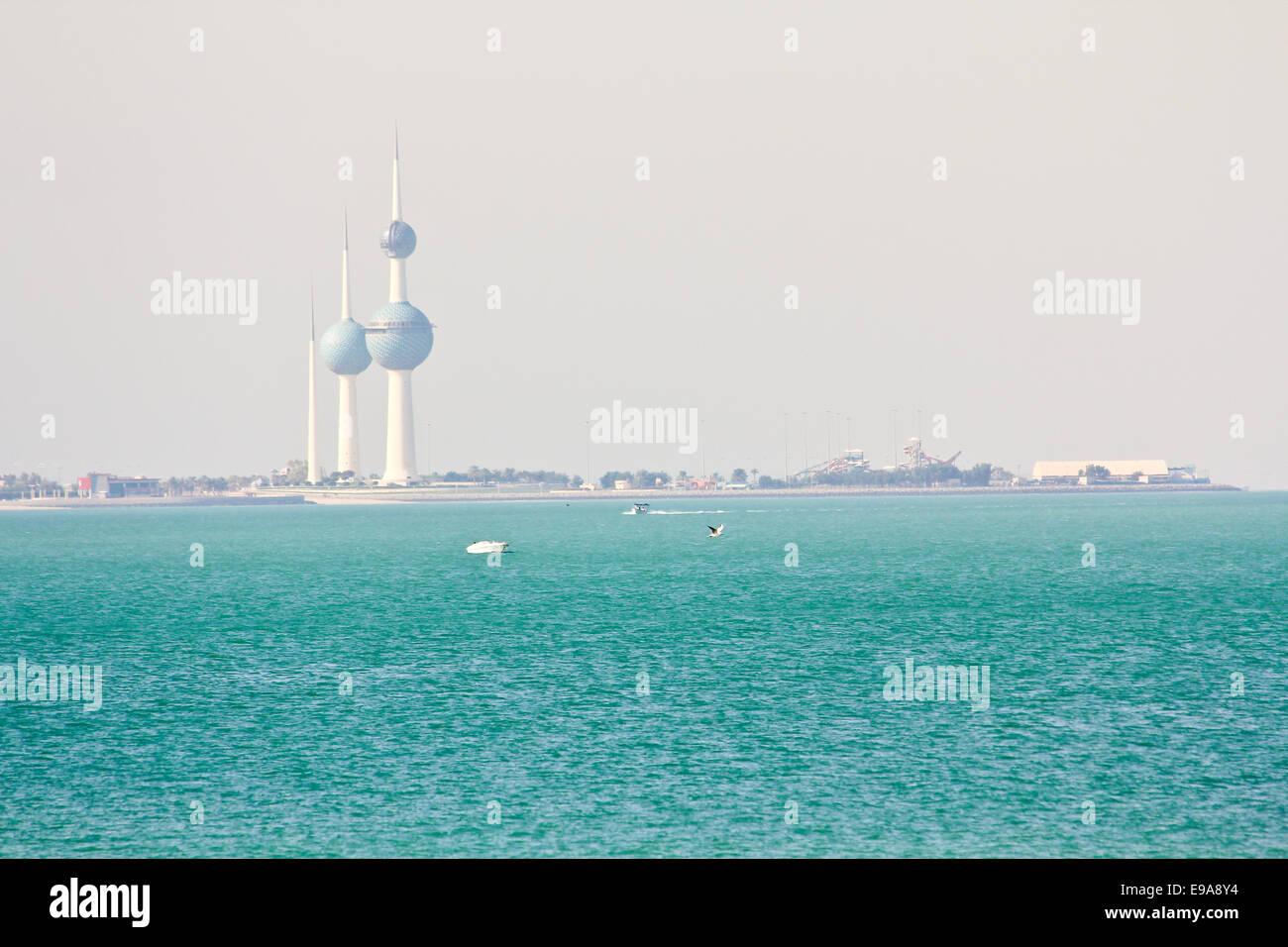 Kuwait Towers at daylight - Stock Image