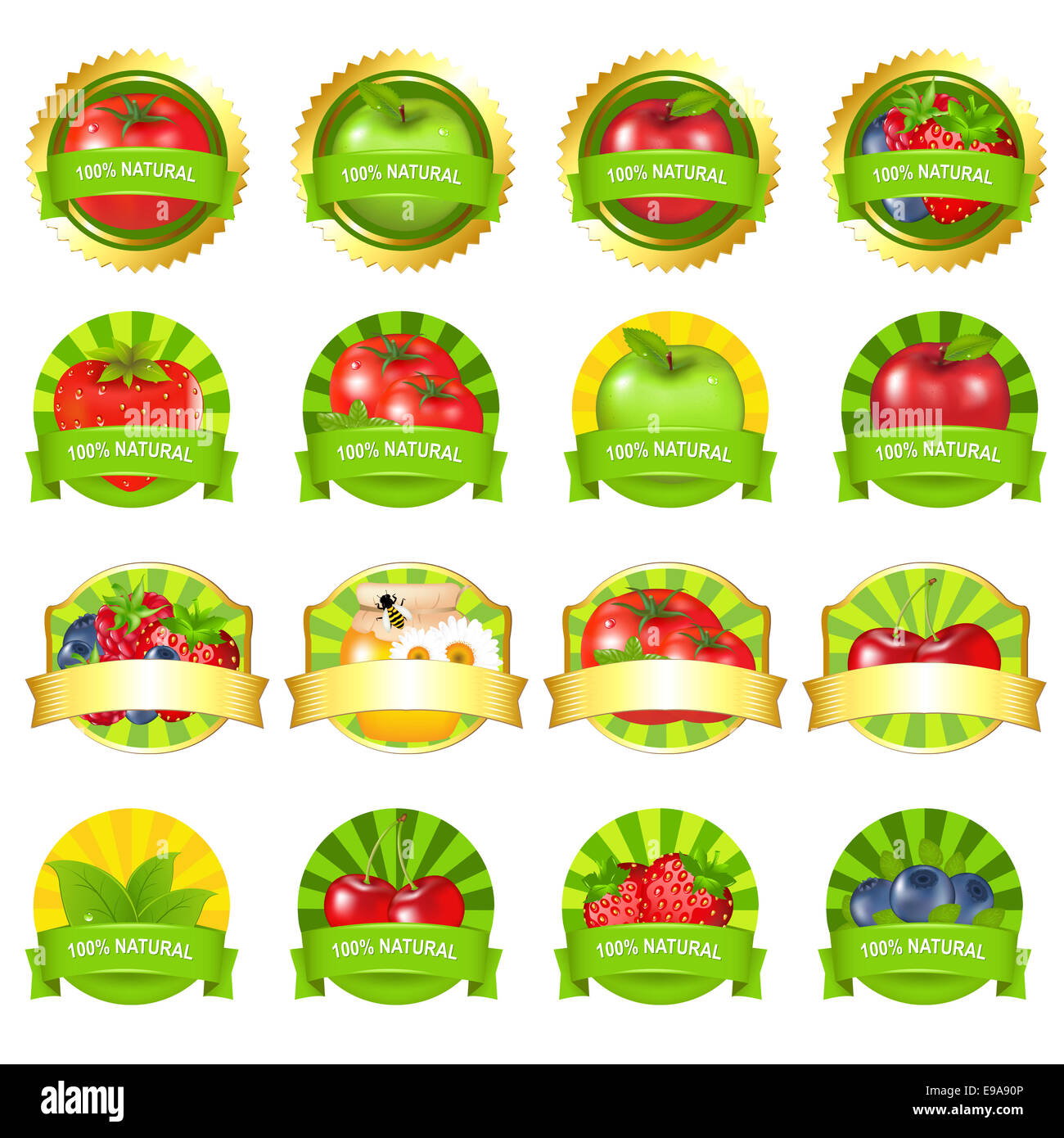 Fruits And Vegetables Labels Set - Stock Image