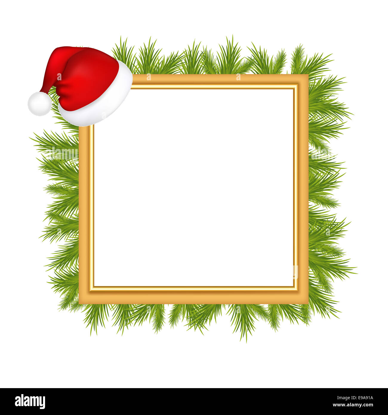Framework For Photo With Santa Claus Hat - Stock Image