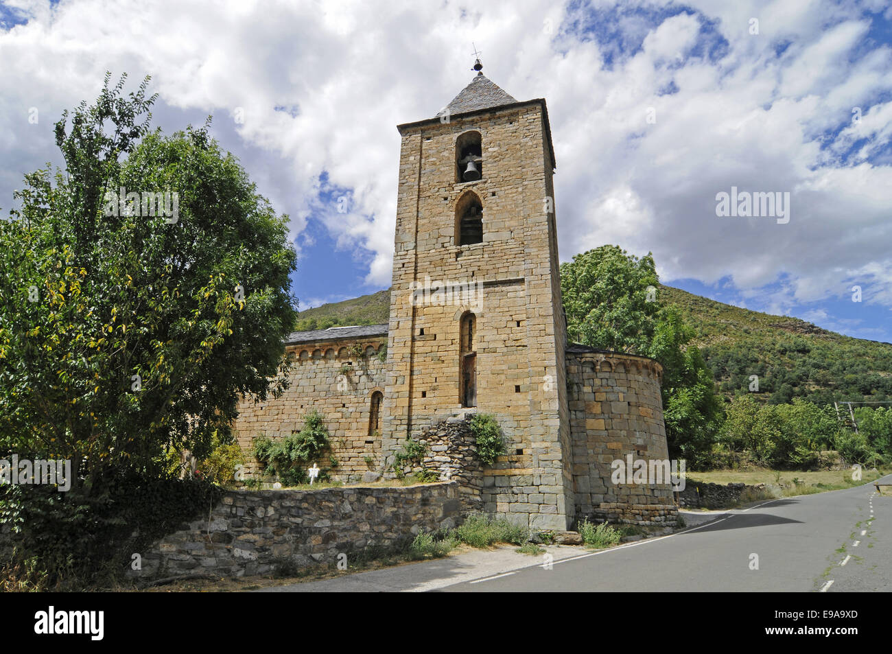 church, Coll, La Vall de Boi, valley, Spain - Stock Image