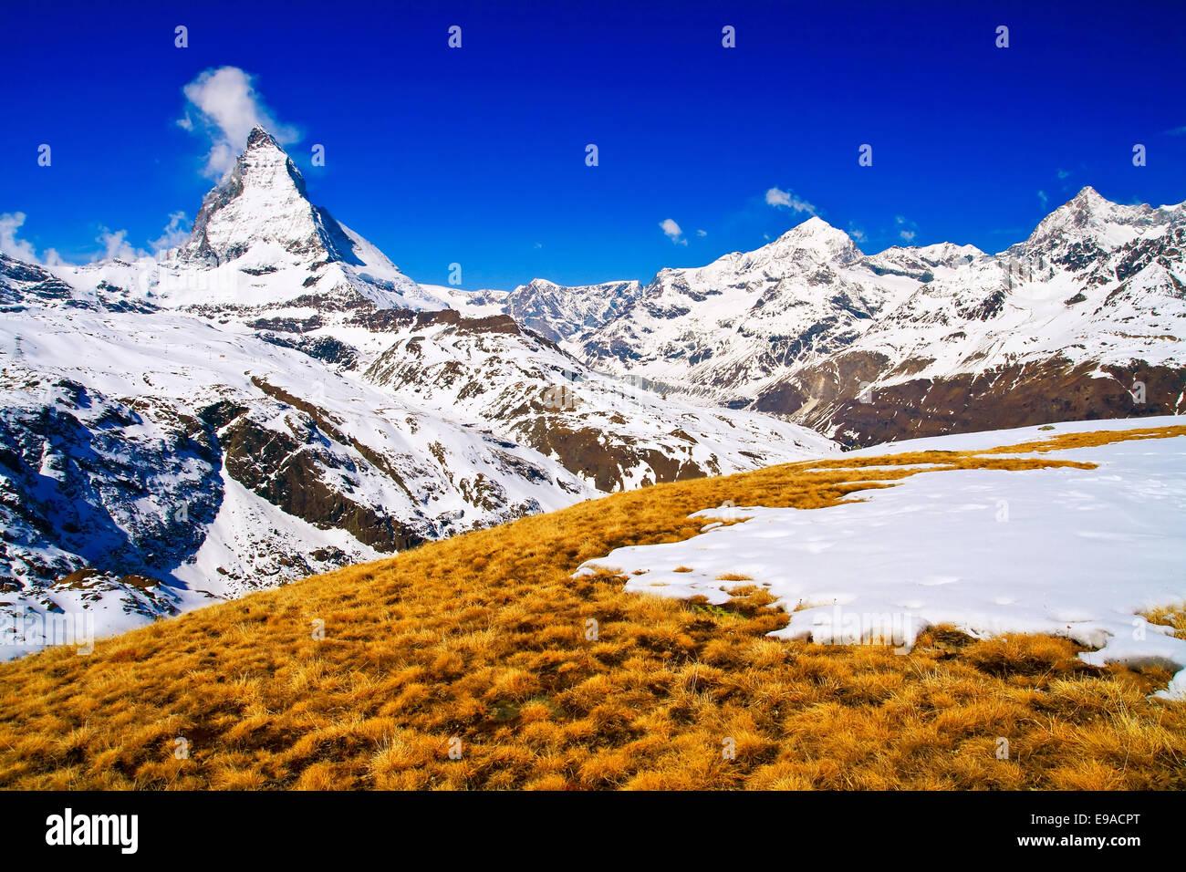 Matterhorn peak Alp Switzerland - Stock Image