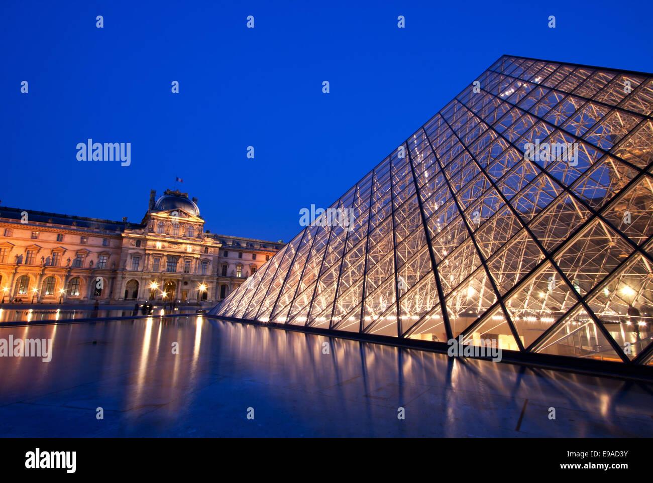 Closeup of Louvre Pyramid - Stock Image