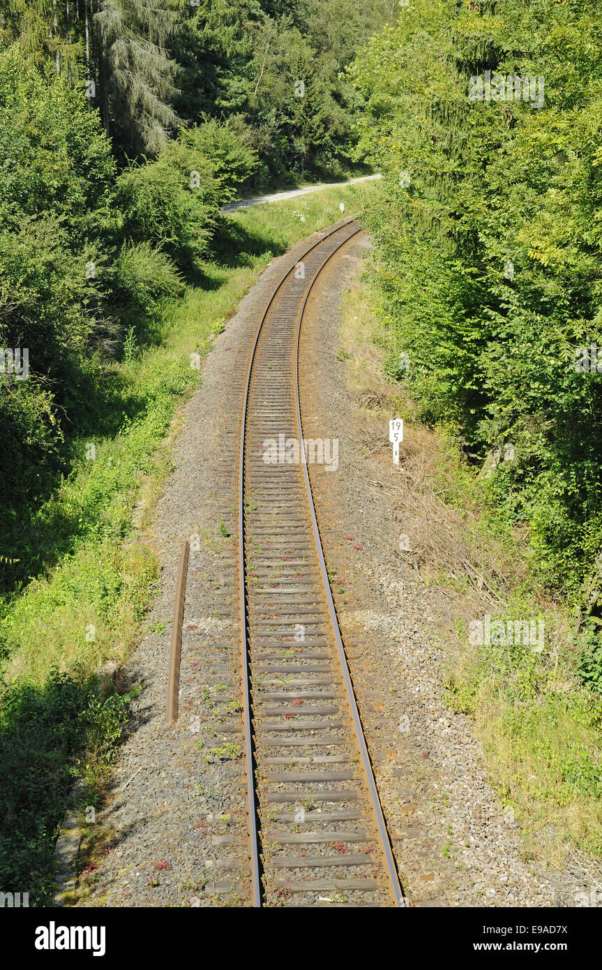 Rail track, Olpe, Germany - Stock Image