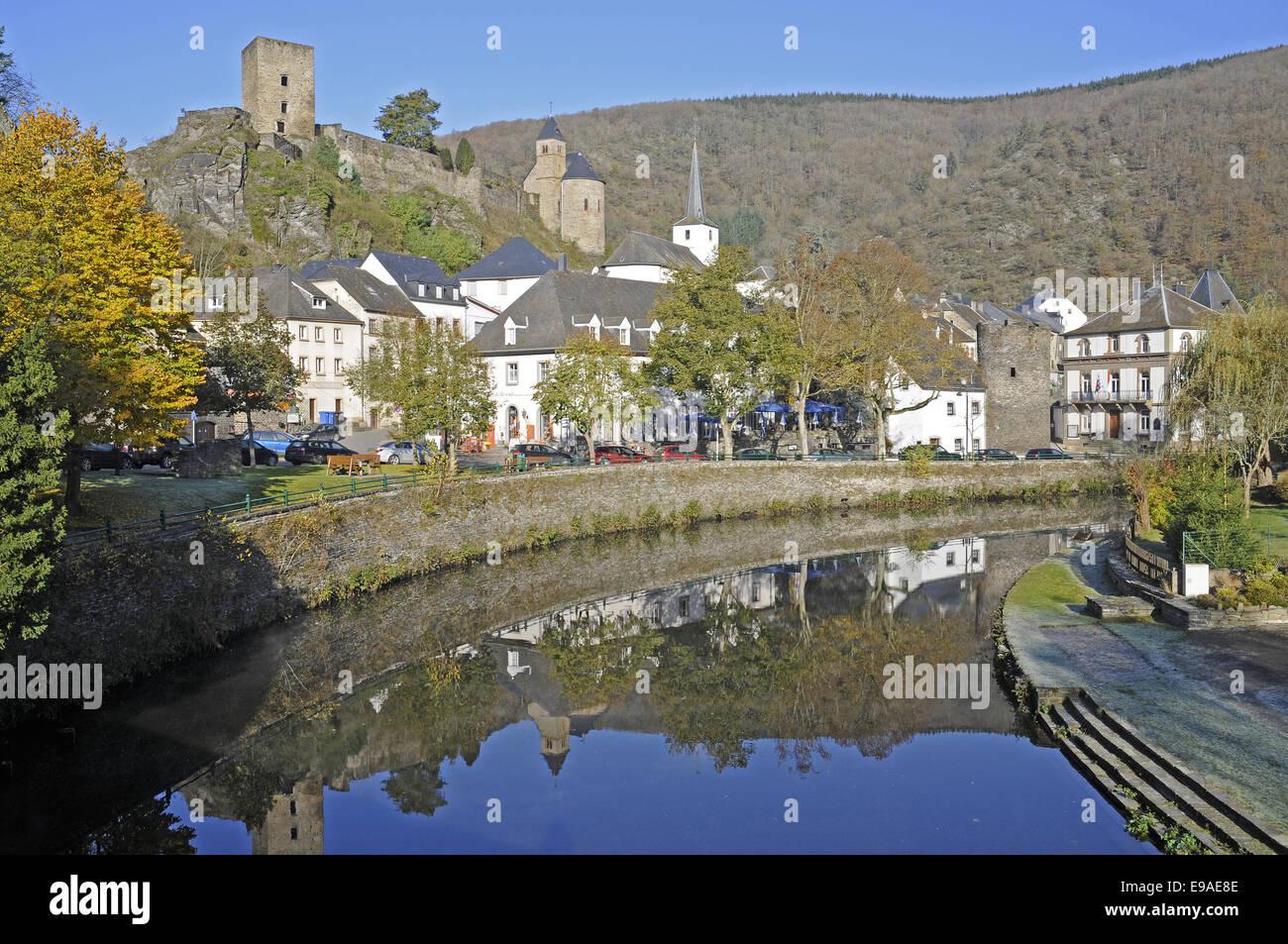 Esch sur Sure, Sauer river, Luxembourg - Stock Image