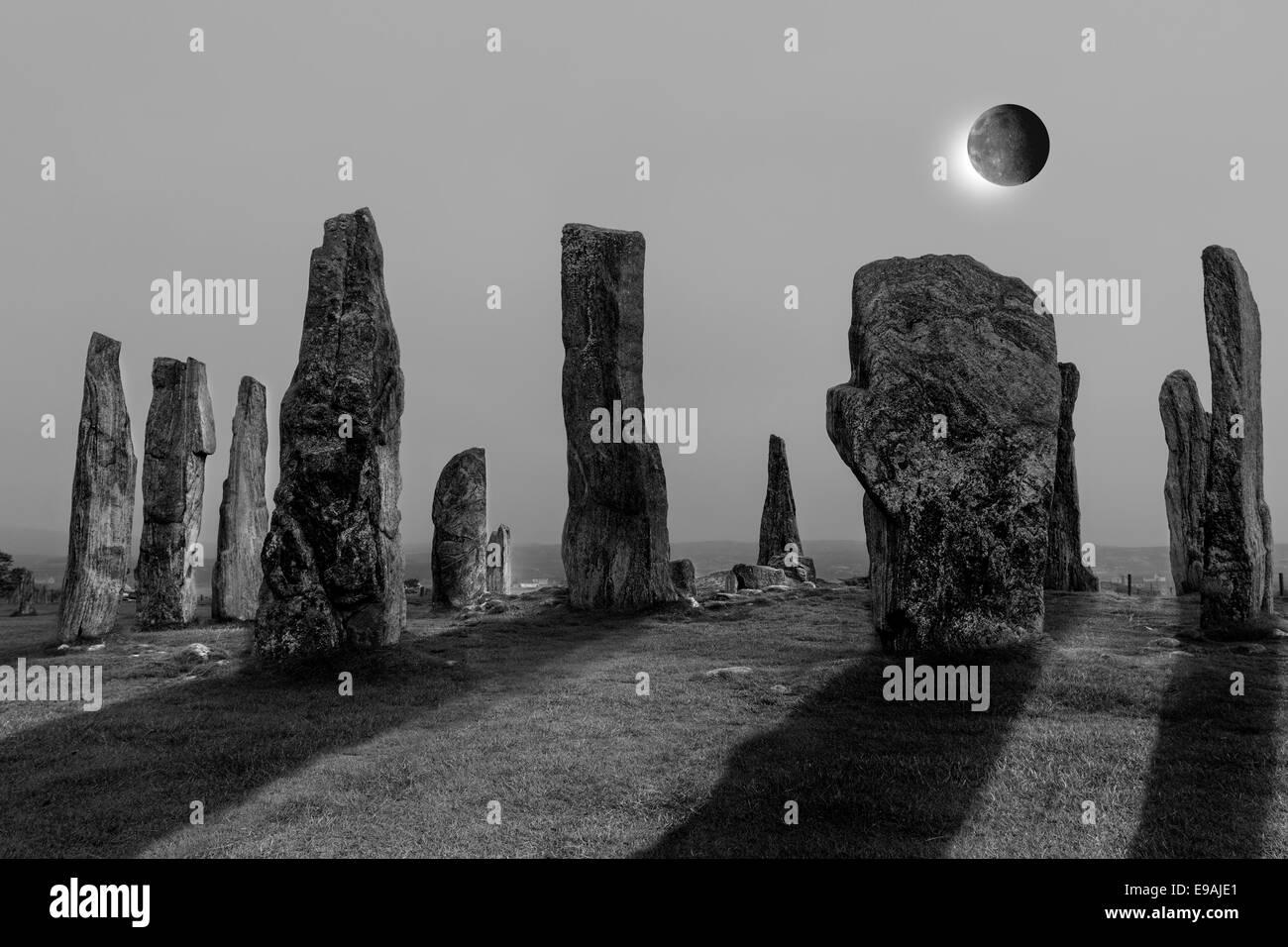 Solar Eclipse and the Callanish Stone Circle, Isle of Lewis Hebrides Scotland UK - Stock Image