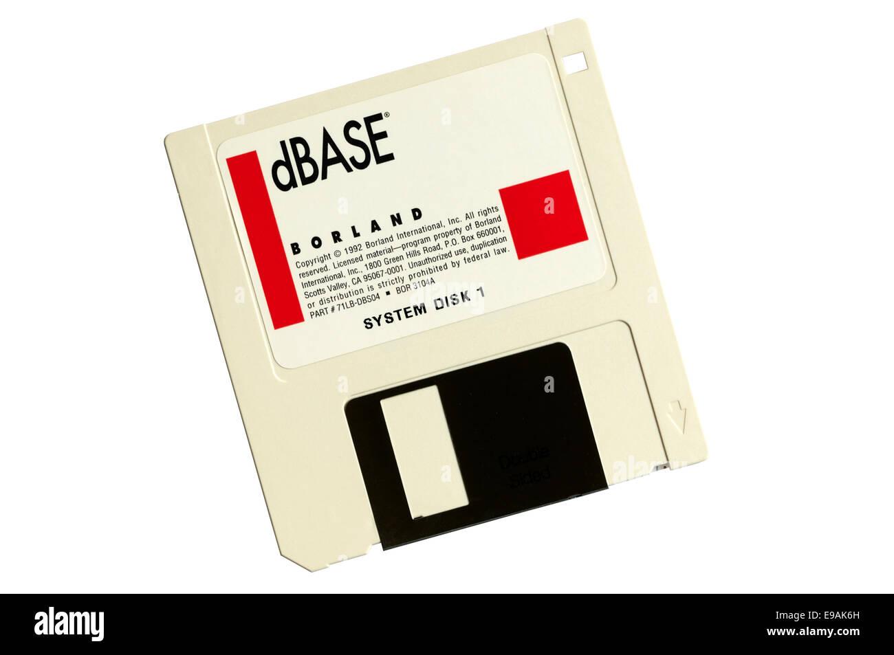 A Borland dBase IV database program diskette. - Stock Image