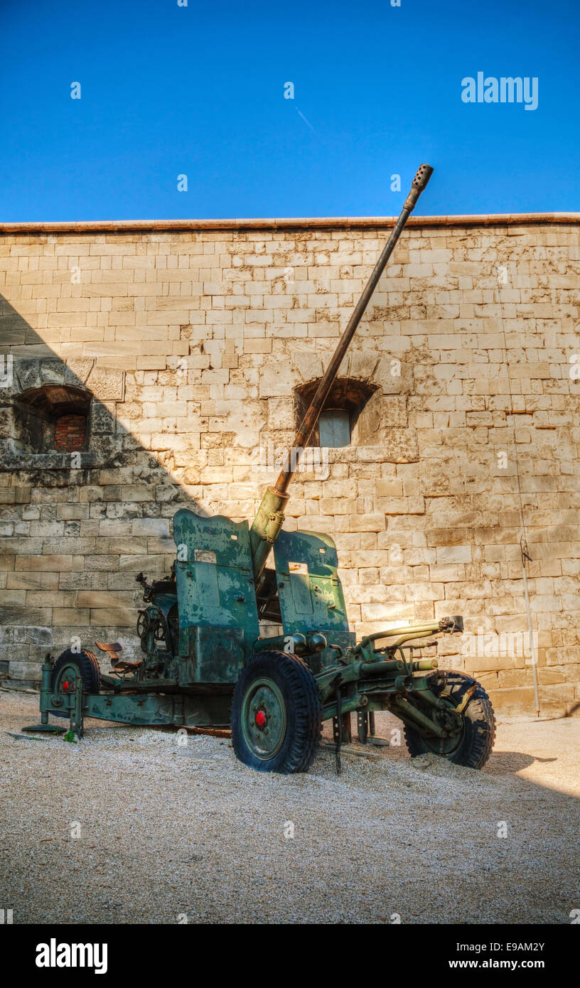 Old howitzer from WWII time at a fort - Stock Image