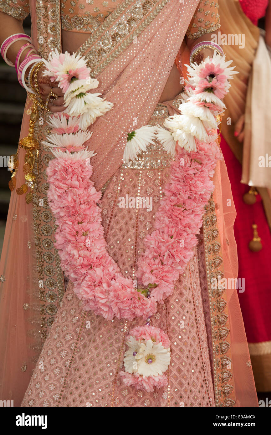 Indian Hindu Wedding with garlands of flowers beauty colours and ...