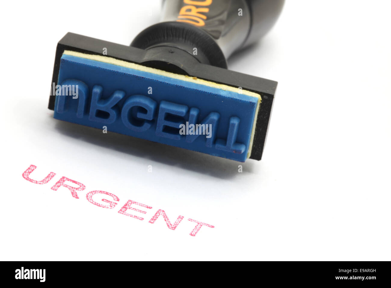 urgent rubber stamp - Stock Image