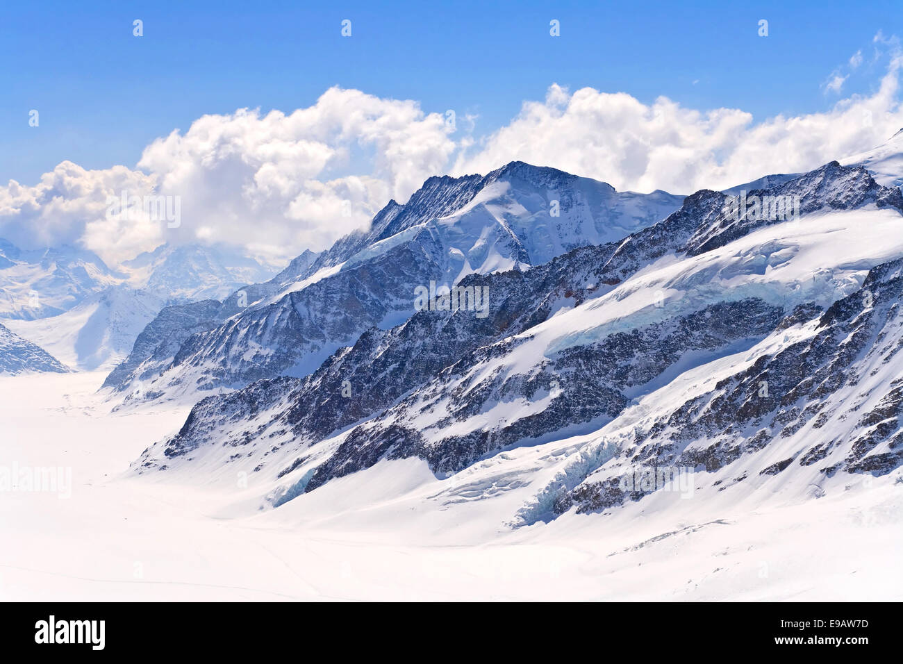 Aletsch alps glacier Switzerland - Stock Image