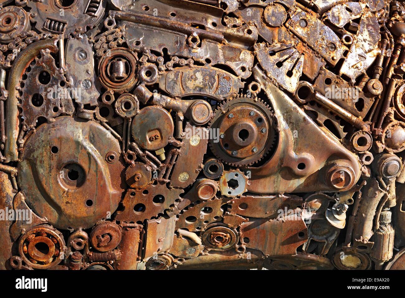 Work of art made from scrap metal - Stock Image