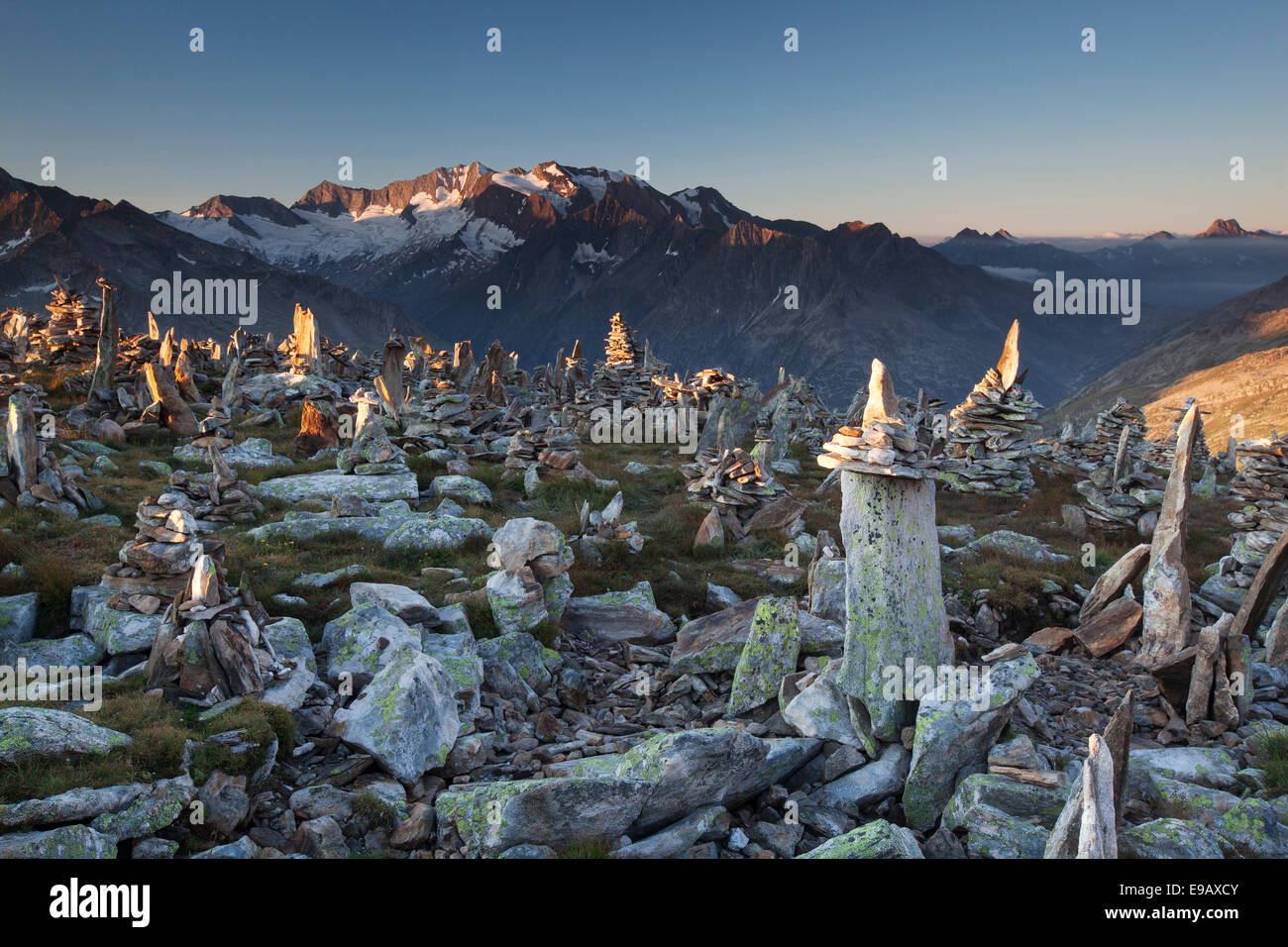 Cairns on the Petersköpfl, Ginzling, Tyrol, Austria Stock Photo