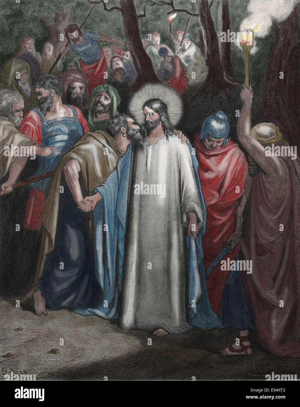 Illustrated Bible New Testament Gospel Of John The Judas Kiss Stock Photo Alamy
