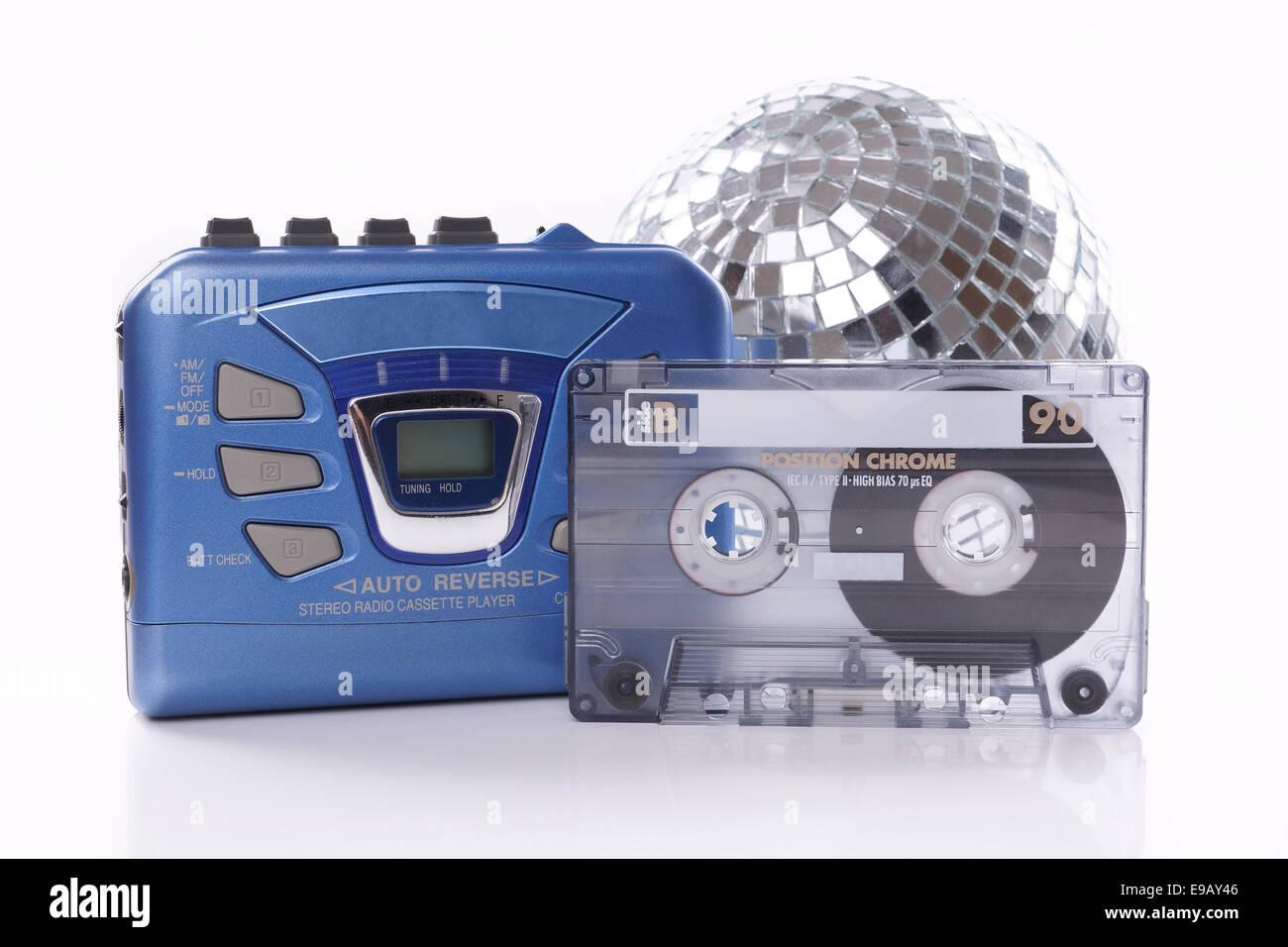 music cassette walkman and disco ball - Stock Image