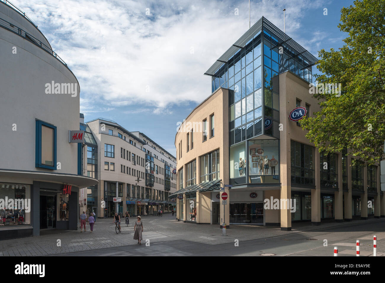 Modern shopping center Loebderstrasse, pedestrian street, downtown, Jena, Thuringia, Germany - Stock Image