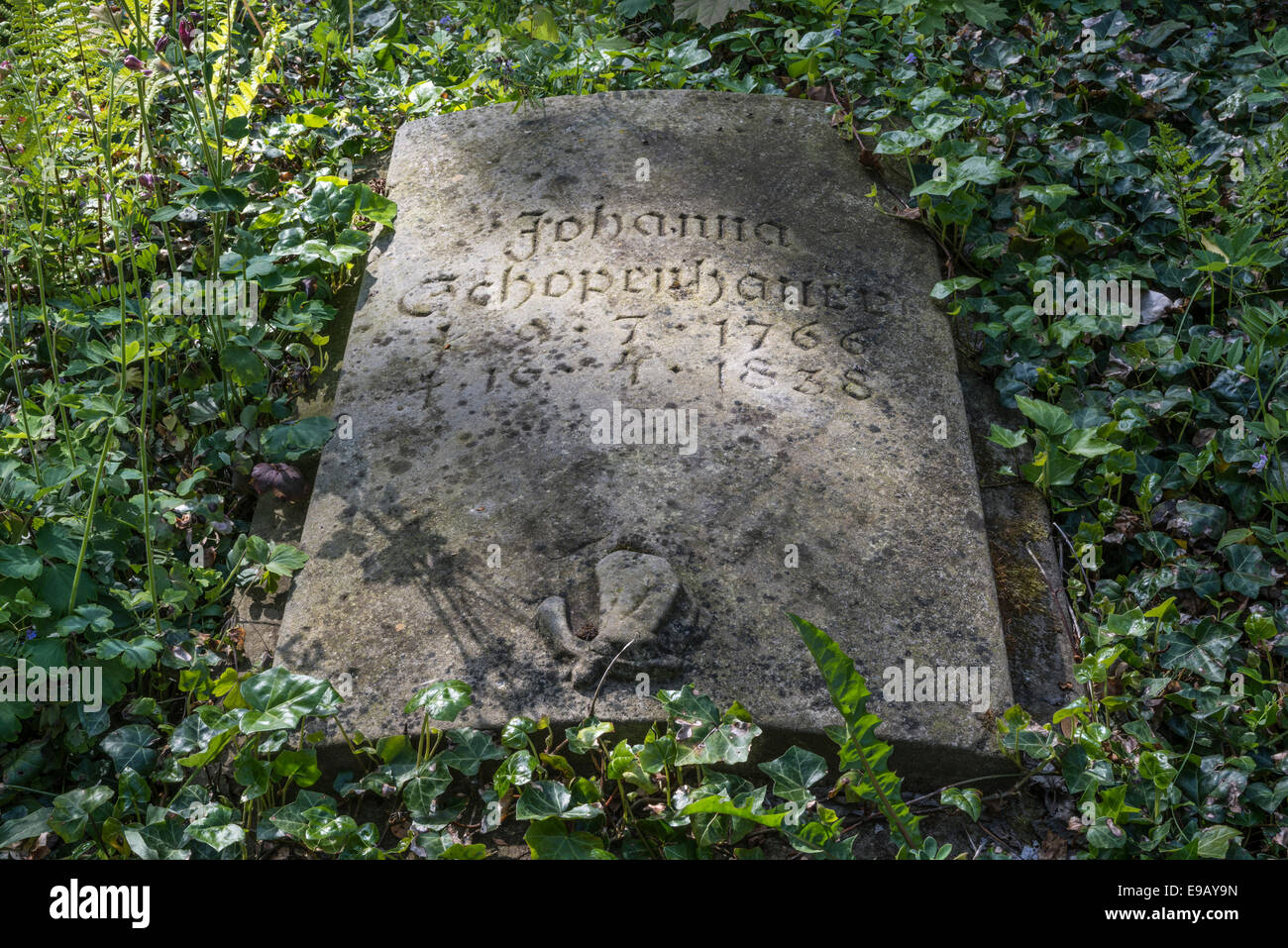 Grave stone for Johanna Schopenhauer, author and mother of the philosopher Schopenhauer, relief and inscription, - Stock Image