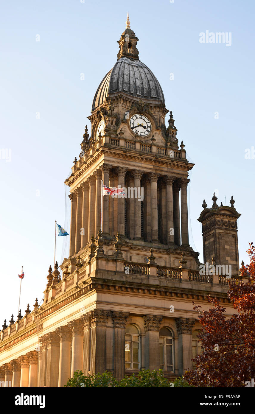Clock tower of the Town Hall, Town Hall, Leeds, West Yorkshire, England, United Kingdom - Stock Image