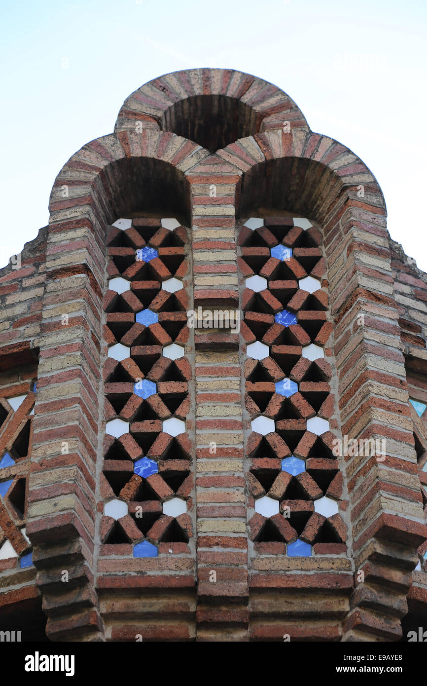 Modernist. Spain. Catalonia. Barcelona. Guell Pavilions.1884-1887. Built  by Antonio Gaudi (1852-1926). - Stock Image