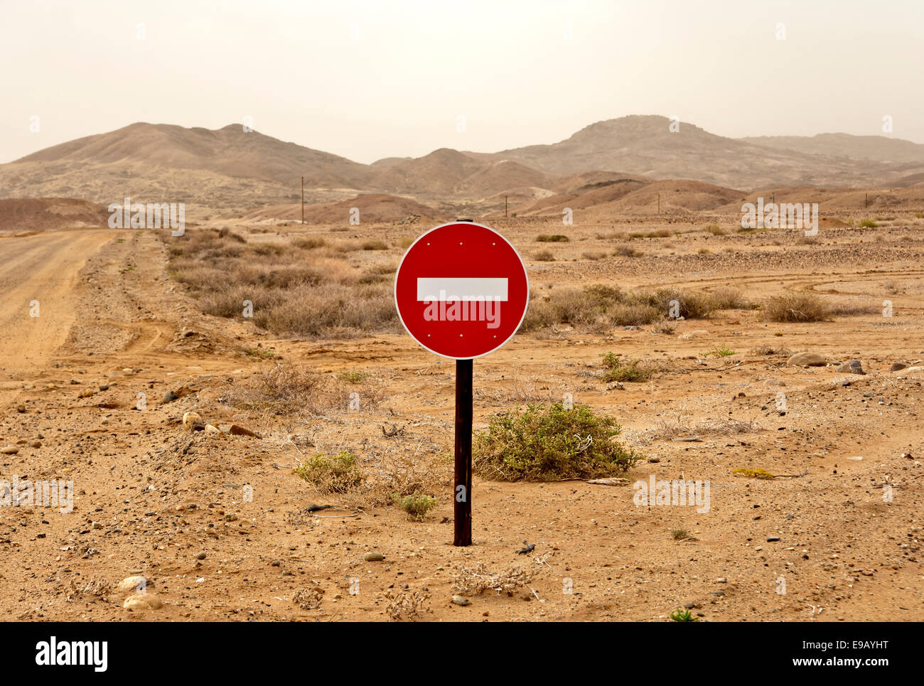'No entry' traffic sign in a desert landscape, Richtersveld, Northern Cape Province, South Africa - Stock Image