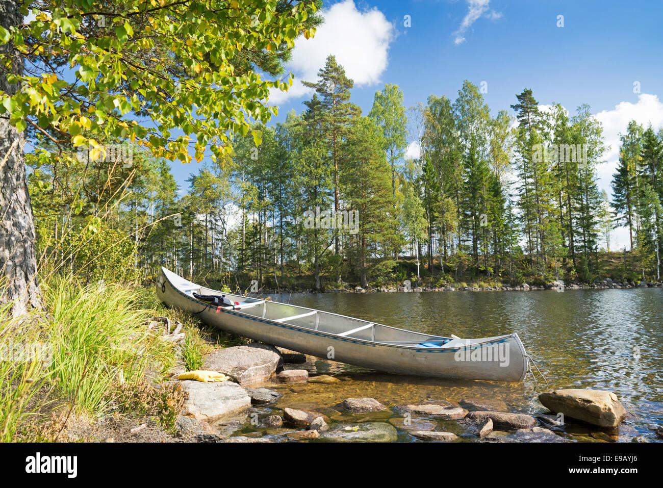 Canoe in the Glaskogen nature reserve, Övre Gla, Värmland, Sweden - Stock Image