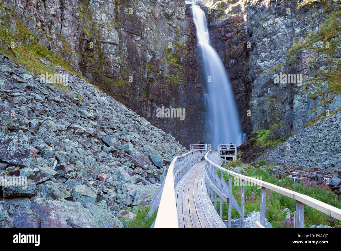 Njupeskär, the highest waterfall in Sweden, Fulufjället National Park, Dalarnas län, Dalarna County, - Stock Image