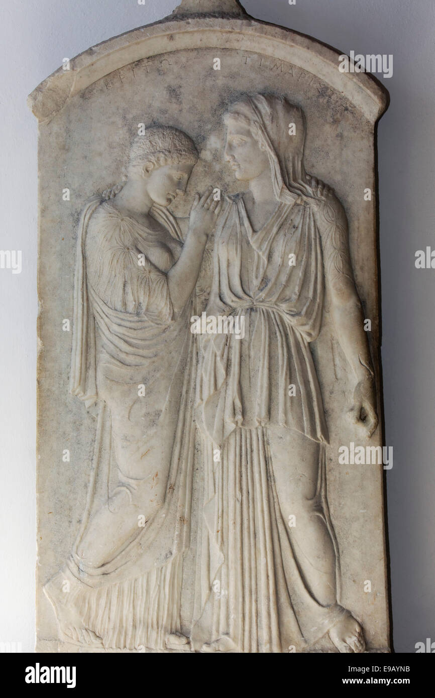 Grave stele of Timarista and Crito, 5th century BC, Archaeological Museum, historic town centre, Rhodes, Island - Stock Image
