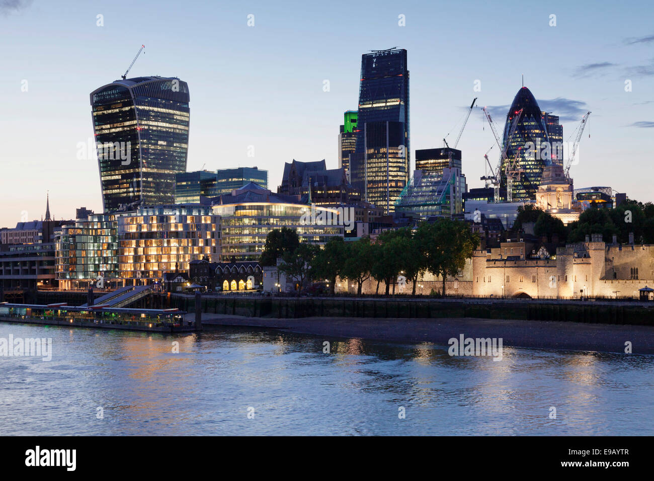 Tower of London on the River Thames, Walkie Talkie high-rise building, Leadenhall high-rise building, 30 St Mary - Stock Image