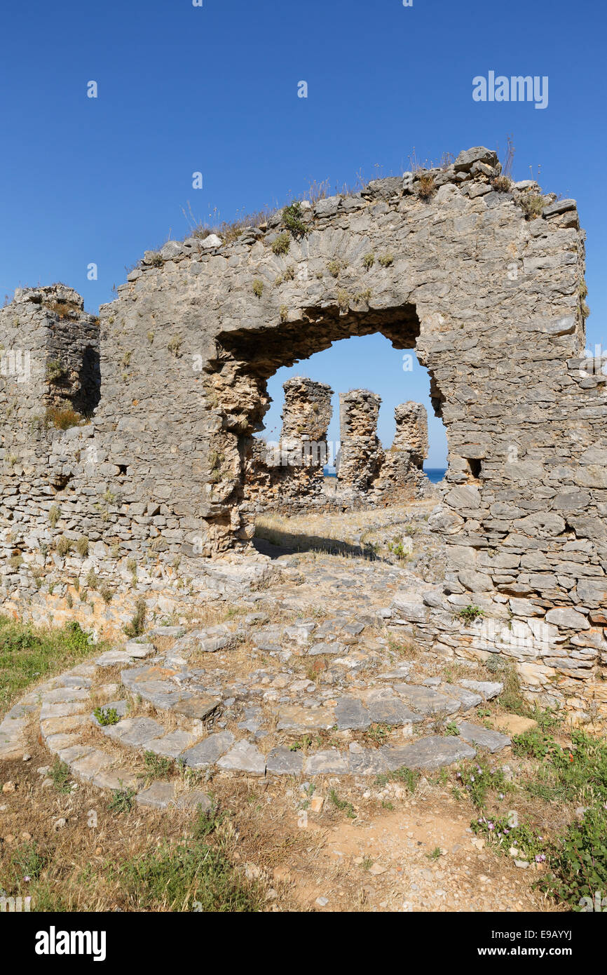 Odeon, ancient city Anemurium, Anamur, Mersin Province, Rugged Cilicia, Turkish Riviera, Turkey - Stock Image