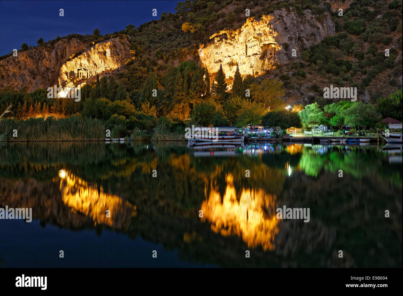 Illuminated Rock Tombs of Kaunas on the Dalyan River, Dalyan, Muğla Province, Turkish Riviera or Turquoise Coast, - Stock Image