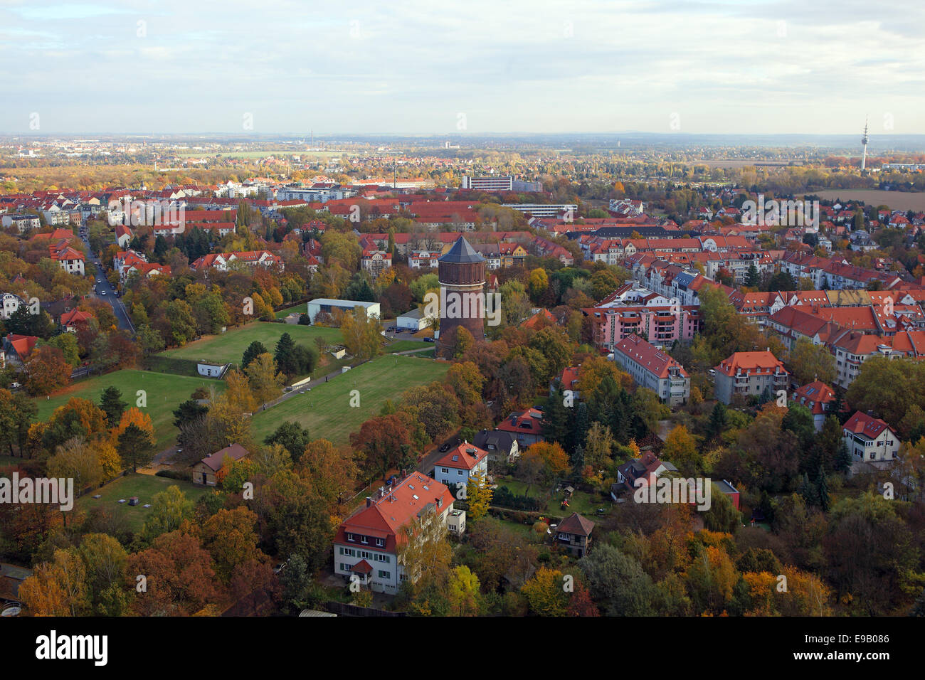 View of the city of Leipzig and its surroundings from the Monument to the Battle of the Nations in autumn, Leipzig, - Stock Image