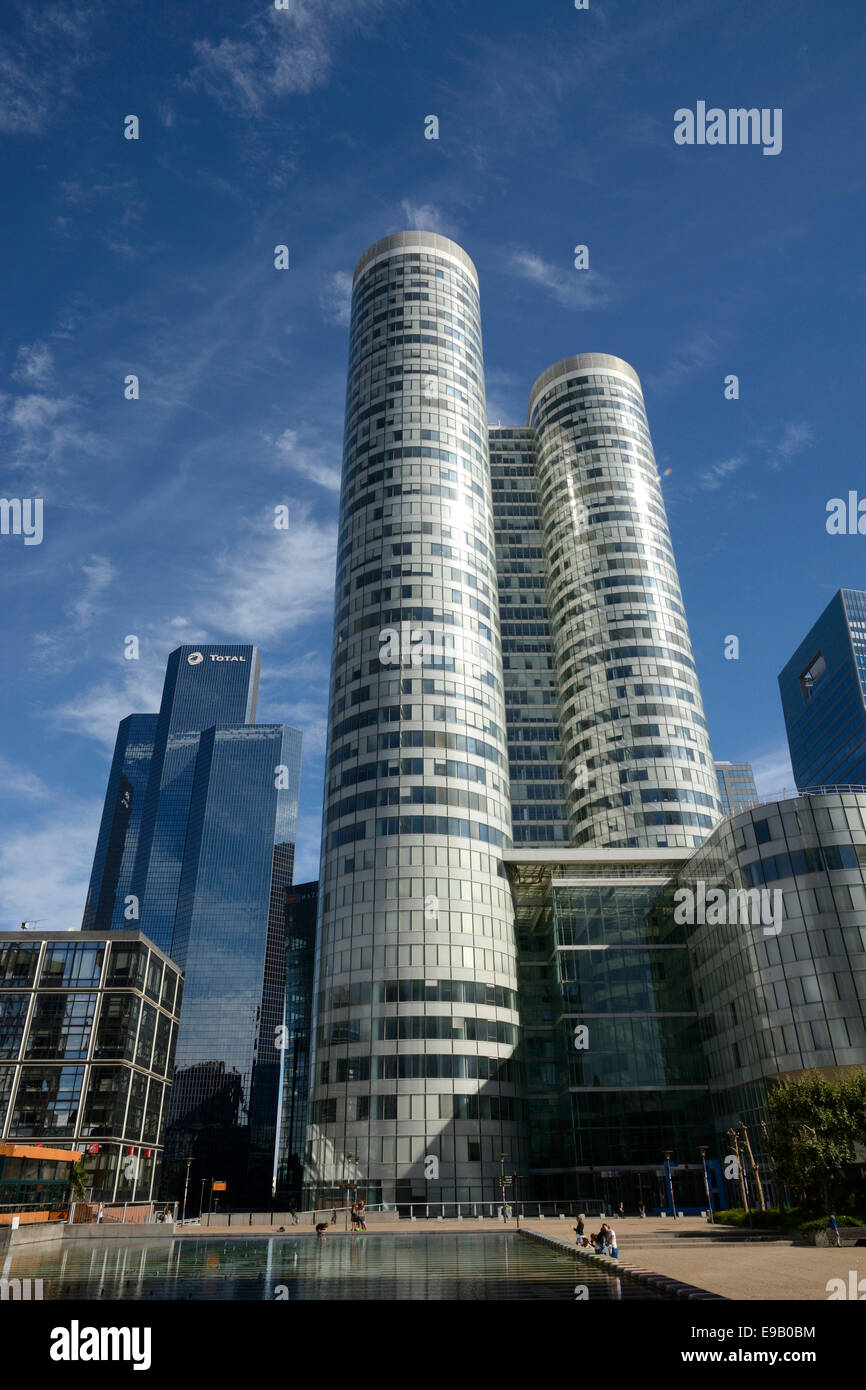 Skyscrapers at La Défense, Paris, Île-de-France, France - Stock Image