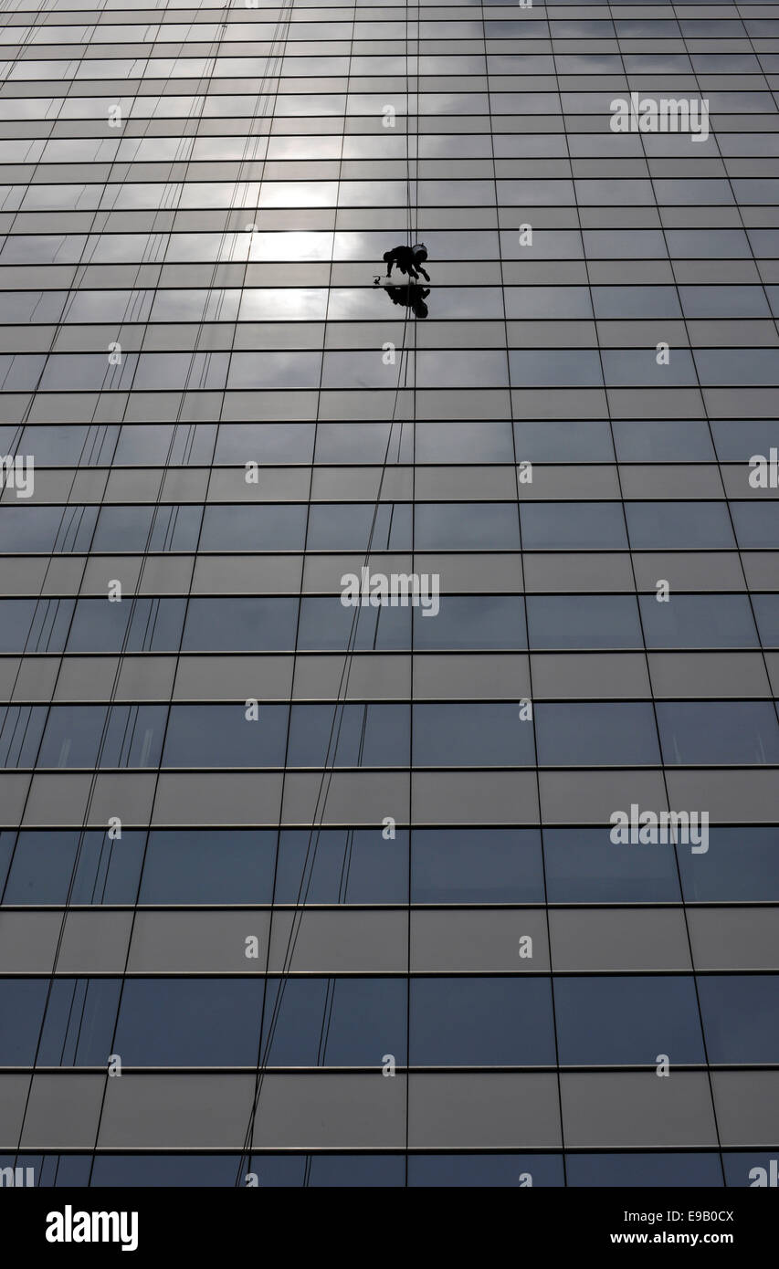 Window cleaner cleaning a window pane - Stock Image