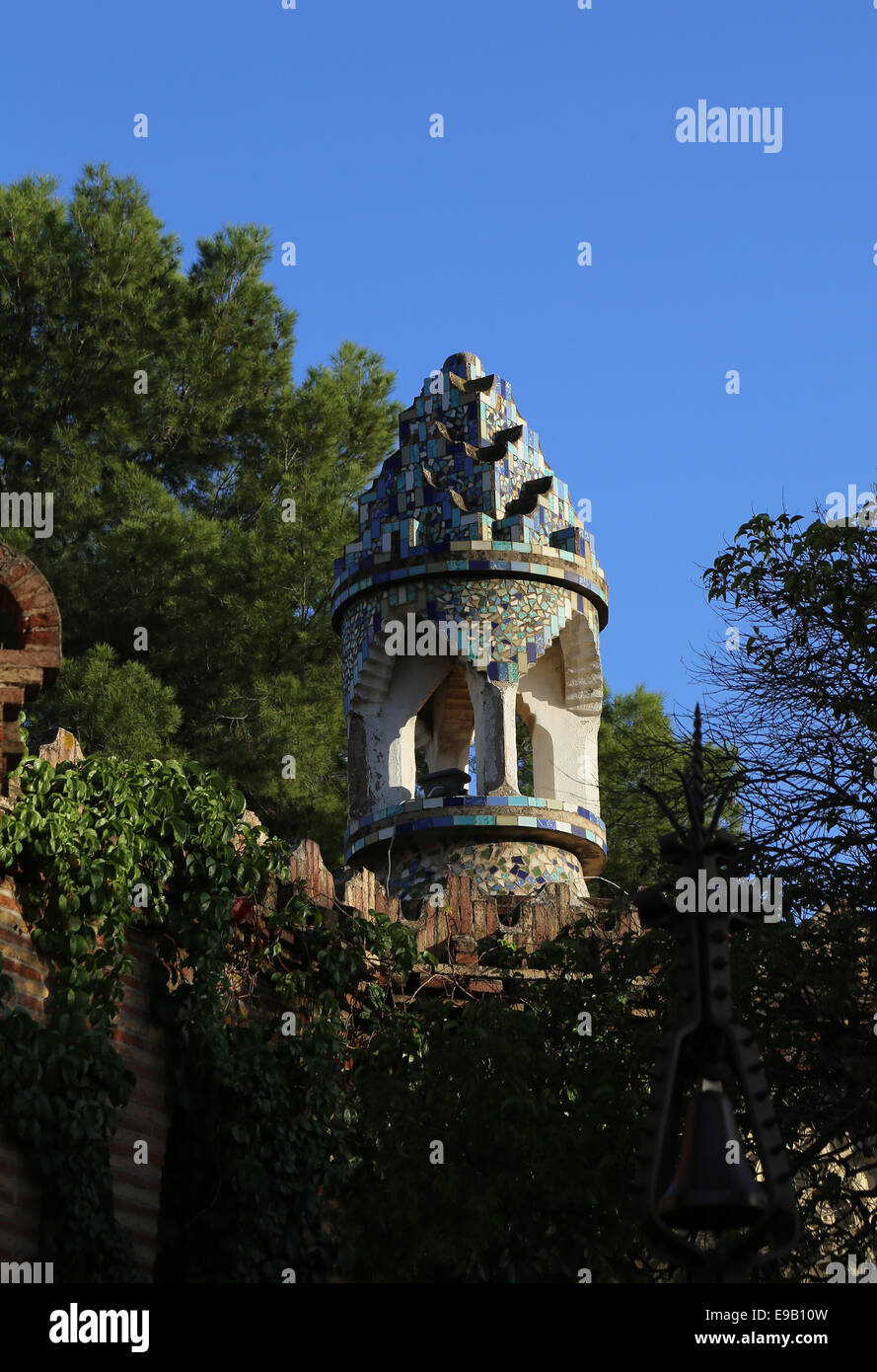 Modernist. Spain. Catalonia. Barcelona. Guell Pavilions.1884-1887. Built  by Antonio Gaudi (1852-1926). Chimney. - Stock Image