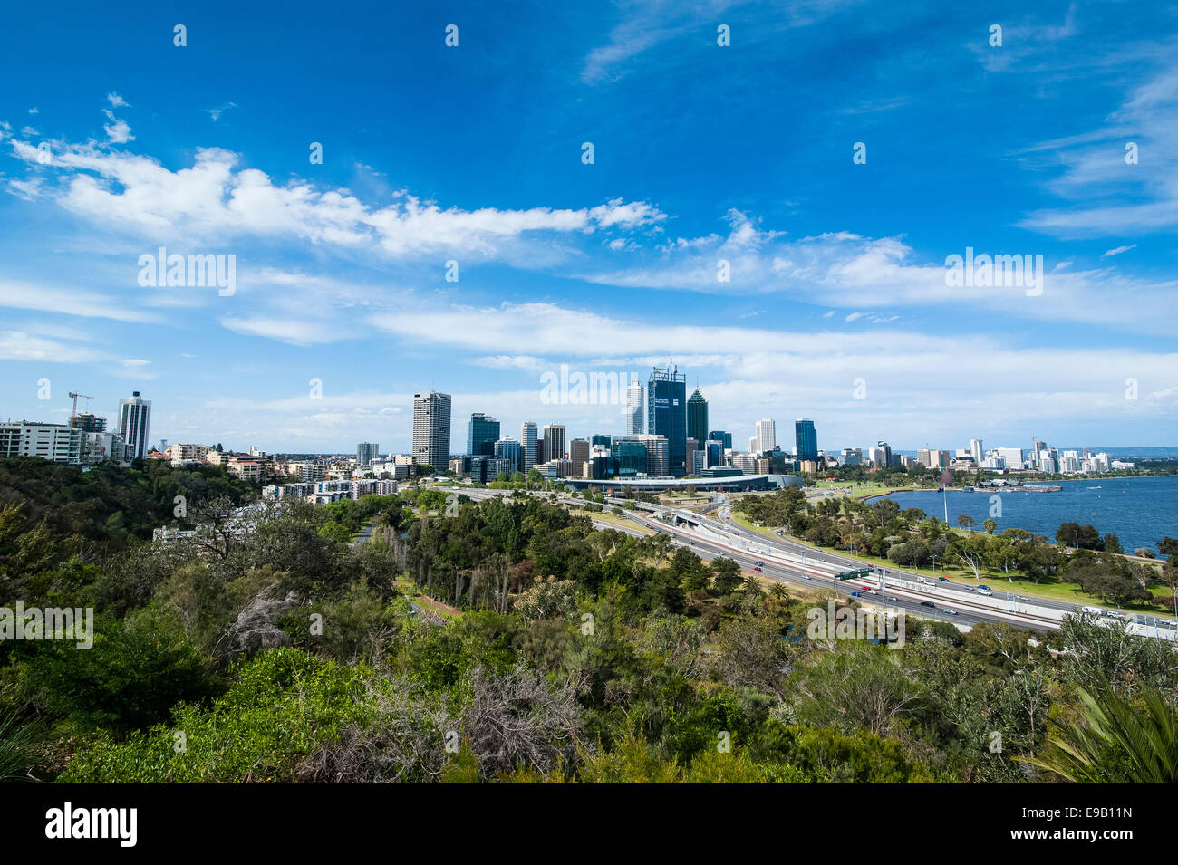 The skyline of Perth, Western Australia - Stock Image