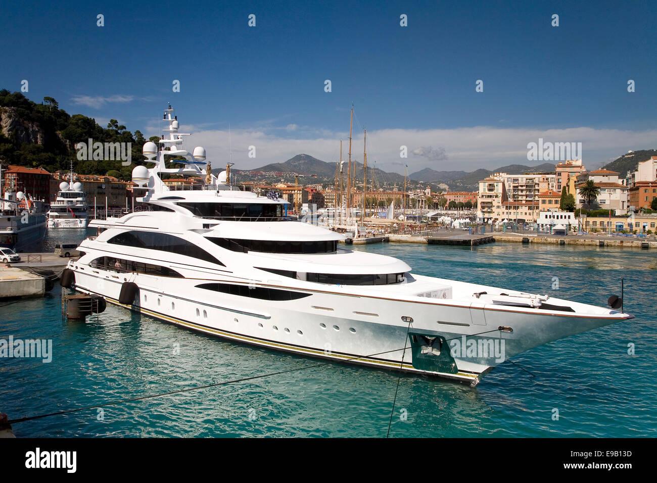 Luxury yacht, harbour, Nice, Provence-Alpes-Côte d'Azur, France - Stock Image