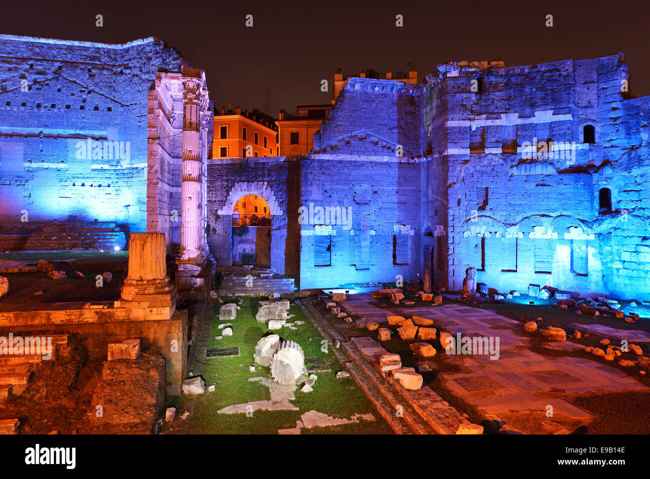 Forum of Augustus with neon lighting, Rome, Italy - Stock Image