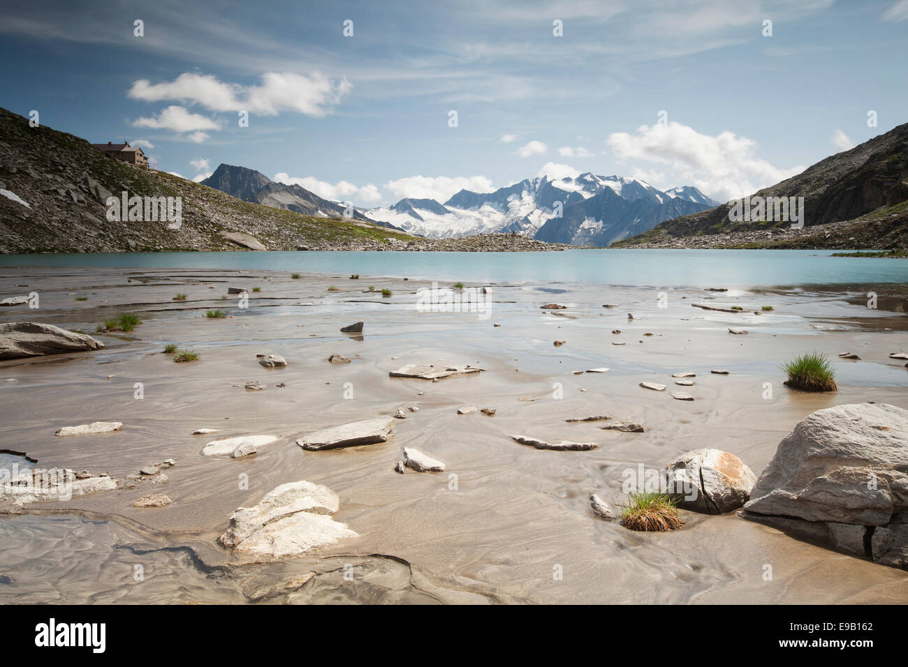 Friesenbergsee lake with views of the Zillertal Alps, Ginzling, Tyrol, Austria Stock Photo