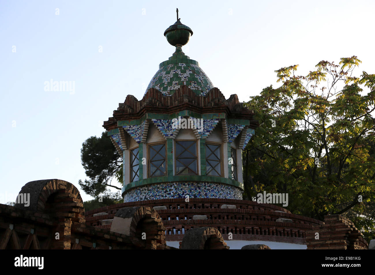 Modernist. Spain. Catalonia. Barcelona. Guell Pavilions.1884-1887. Built  by Antonio Gaudi (1852-1926). Dome. - Stock Image