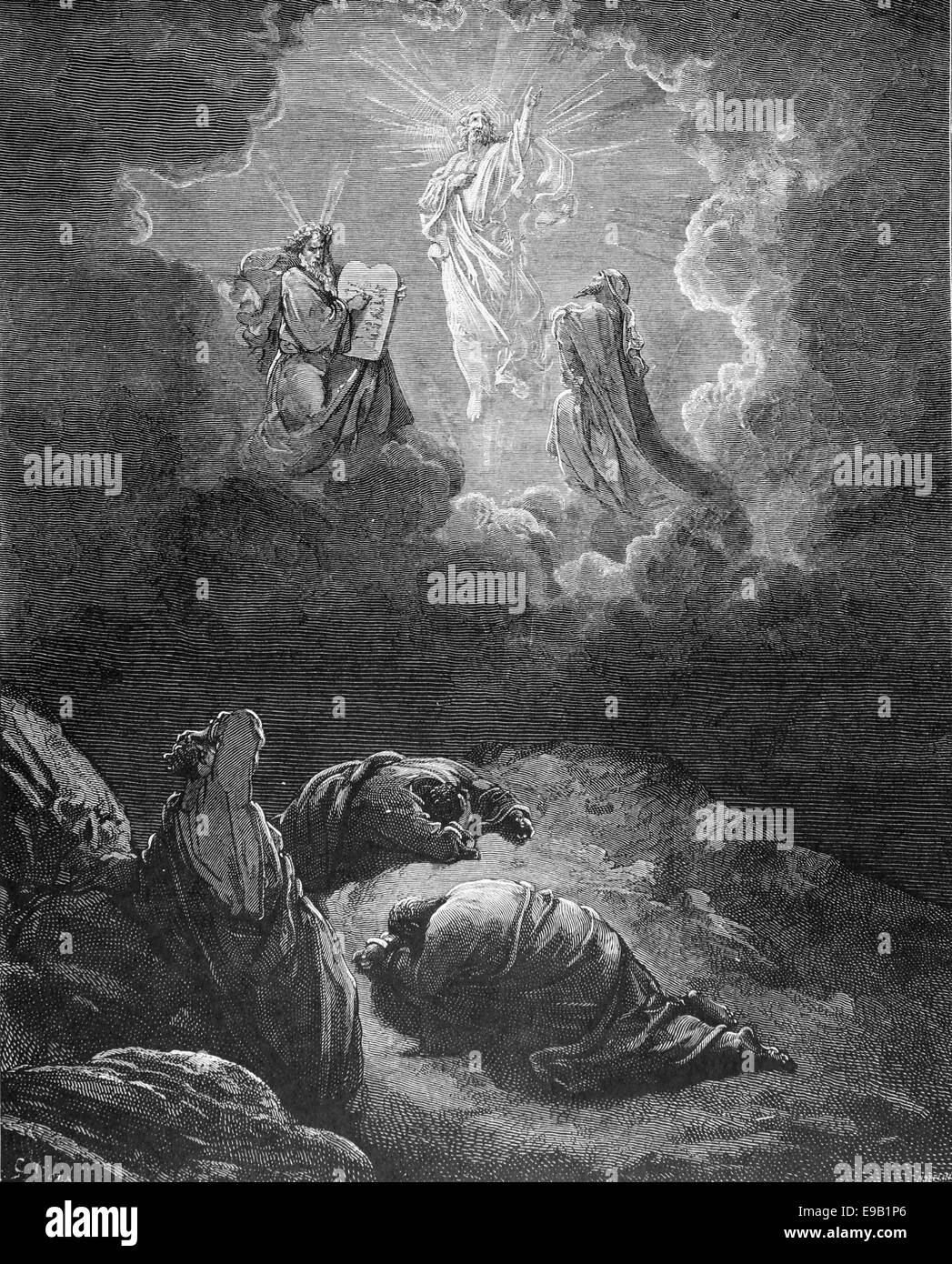 Illustrated Bible. New Testament.The Transfiguration. Mat 17:2. By Gustave Dore (1832-1883).19th century. - Stock Image