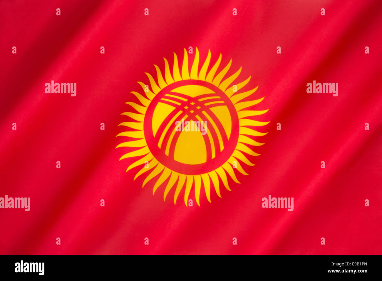 Flag of The Republic of Kyrgyzstan - Stock Image