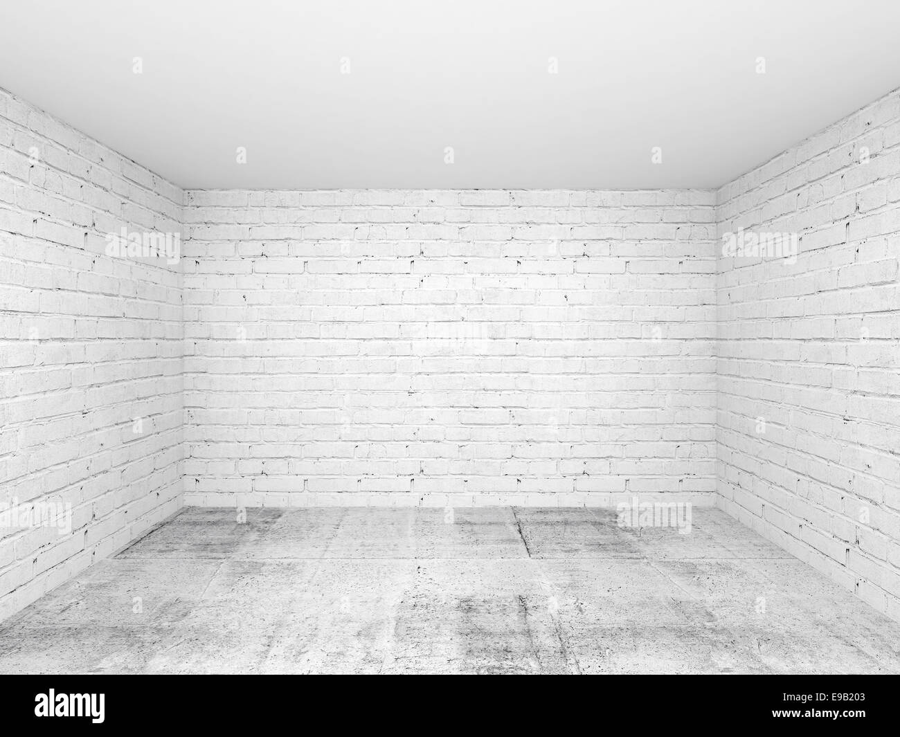Empty white 3d room interior background with brick walls and ...