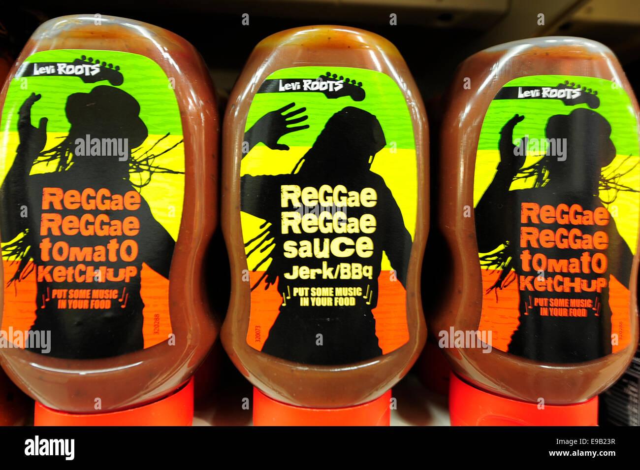 reggae reggae sauce on shelfs (Newscast)(Model Released) - Stock Image